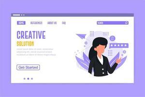 page de destination de la solution créative vecteur