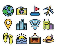jeu d'icônes de voyage et de tourisme