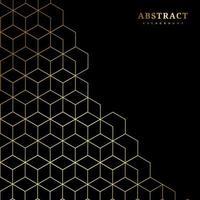 motif hexagones or sur fond noir vecteur