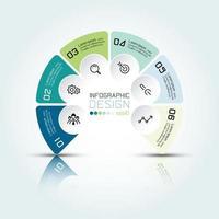 infographie circulaire avec 6 options et trois dimensions