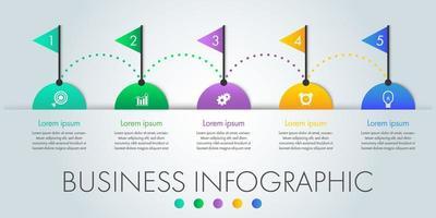 5 étapes demi-cercle et drapeau affaires infographique vecteur