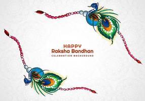 carte de bracelet joyeux raksha bandhan paon vecteur
