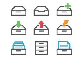 Vecteurs d'armoires de fichiers colorés