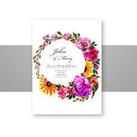 modèle de carte décorative de belles fleurs vecteur