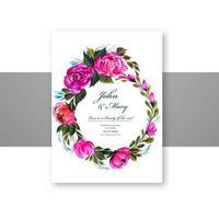 cadre de carte de mariage de belles fleurs circulaires vecteur