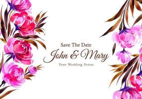 carte de fleurs décoratives aquarelle invitation de mariage vecteur