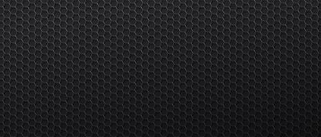 fond noir avec maille métallique à cellules hexagonales vecteur