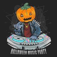 fête d'halloween avec dj vecteur