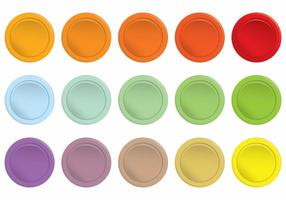 Ensemble de boutons colorés simples d'arcade vecteur