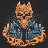 crâne avec le feu