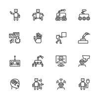 robot, intelligence artificielle, jeu d'icônes de ligne d'automatisation. vecteur