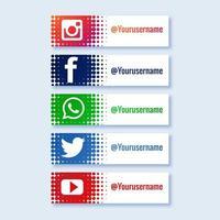 élégant ensemble de collection tiers inférieur des médias sociaux