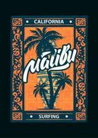 affiche de malibu de sport de surf vecteur