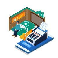 Homme envoyant un paiement en ligne via un ordinateur portable, un téléphone mobile vecteur