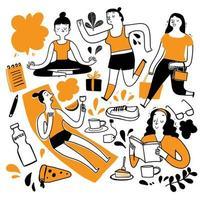 femmes faisant différentes activités dans la chaleur de l'été vecteur