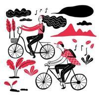 couple à vélo dans le parc vecteur