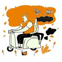 couple dessiné à la main sur un scooter