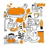 ensemble d'activités de salle de bain dessinés à la main vecteur
