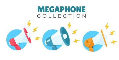 jeu d'icônes de mégaphone vecteur