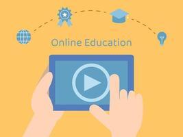cours en ligne sur tablette vecteur