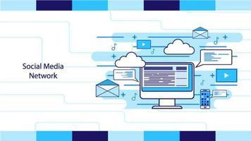 icônes de médias sociaux autour de la conception du contour de l'écran vecteur