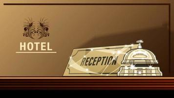 hôtel signe service de réception cloche vecteur