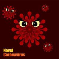 personnages de coronavirus maléfiques rouges