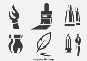 Set d'icônes des outils de peinture vecteur
