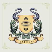 emblème héraldique de corne de taureau vecteur