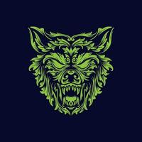 tête de loup en colère vecteur