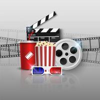 concept de fond de cinéma sur fond gris vecteur