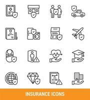 jeu d'icônes de ligne d'assurance vecteur