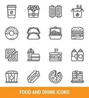 jeu d & # 39; icônes de ligne de restauration rapide et de boisson