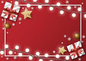 carte de noël rectangle avec cadeaux et lumières vecteur