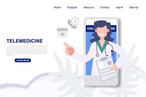 femme médecin consultant sur la page de destination du téléphone mobile vecteur