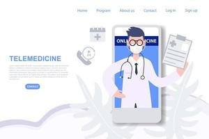 médecin de sexe masculin consultant sur la page de destination de téléphone mobile vecteur