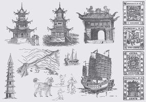 Dessins de culture chinoise vecteur