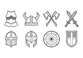 Vecteur d'icônes d'armure médiévale gratuit