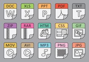 Types de fichiers Icônes de ligne vecteur
