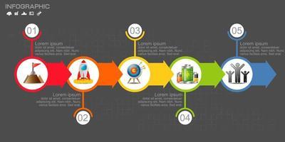 infographie de la chronologie de la flèche circulaire colorée vecteur