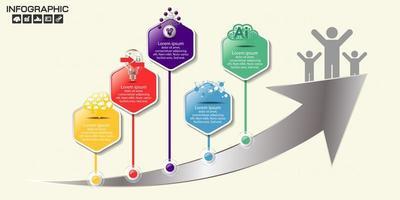 infographie hexagonale moderne sur flèche métallique vecteur