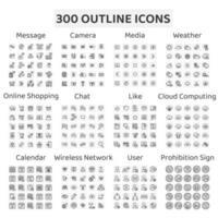 ensemble de 300 icônes de contour caméra, météo et plus vecteur