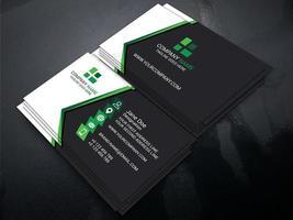 carte de visite professionnelle à angle noir, blanc et vert vecteur