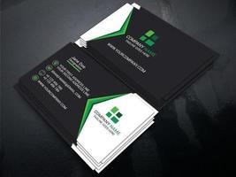 carte de visite professionnelle noir, blanc et vert vecteur