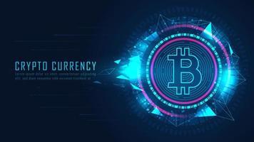 crypto-monnaie bitcoin dans un graphique futuriste vecteur