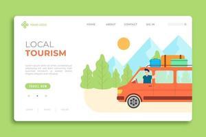 page de destination du tourisme local avec un homme en van