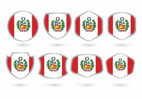 Ensemble d'insigne de drapeau du Pérou vecteur