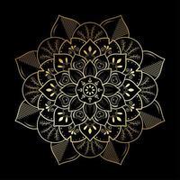 mandala de fleur de feuille rayée dorée