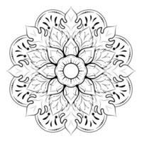 mandala fleur et feuille contour noir vecteur