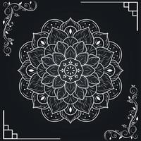mandala blanc et bordure de cadre floral vecteur